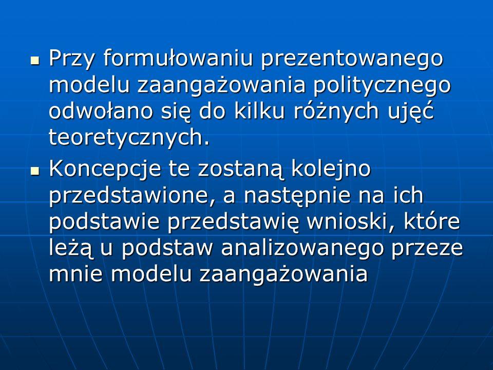 Przy formułowaniu prezentowanego modelu zaangażowania politycznego odwołano się do kilku różnych ujęć teoretycznych.