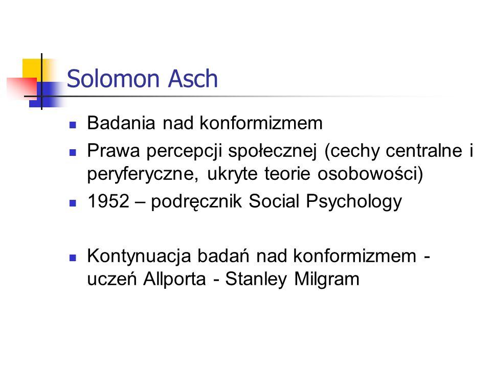 Solomon Asch Badania nad konformizmem