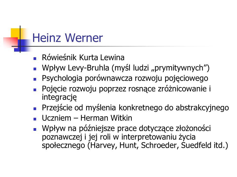 Heinz Werner Rówieśnik Kurta Lewina