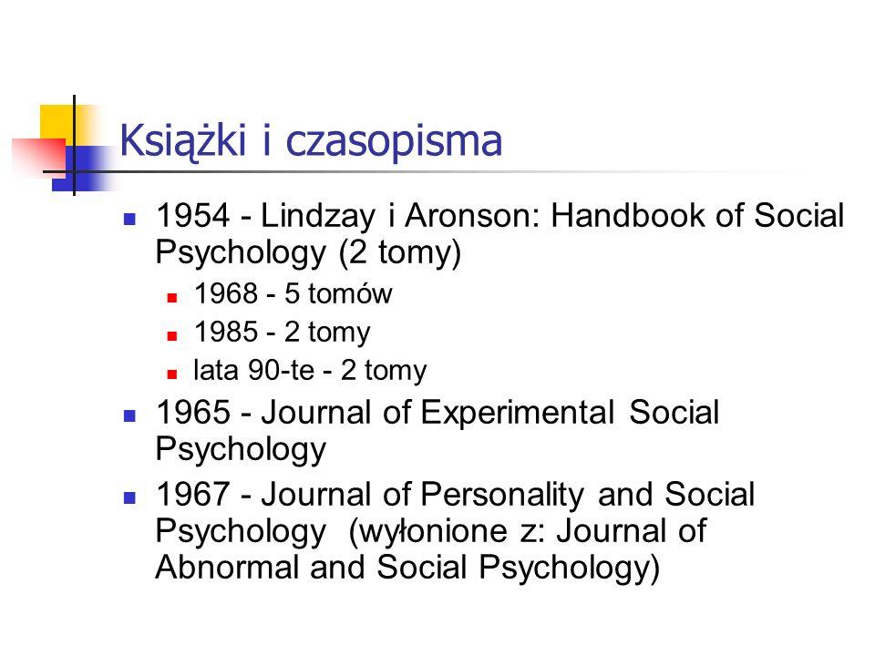 Książki i czasopisma 1954 - Lindzay i Aronson: Handbook of Social Psychology (2 tomy) 1968 - 5 tomów.