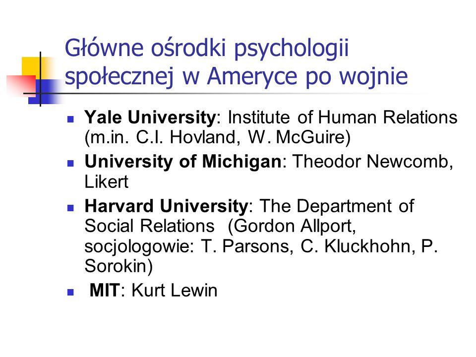 Główne ośrodki psychologii społecznej w Ameryce po wojnie