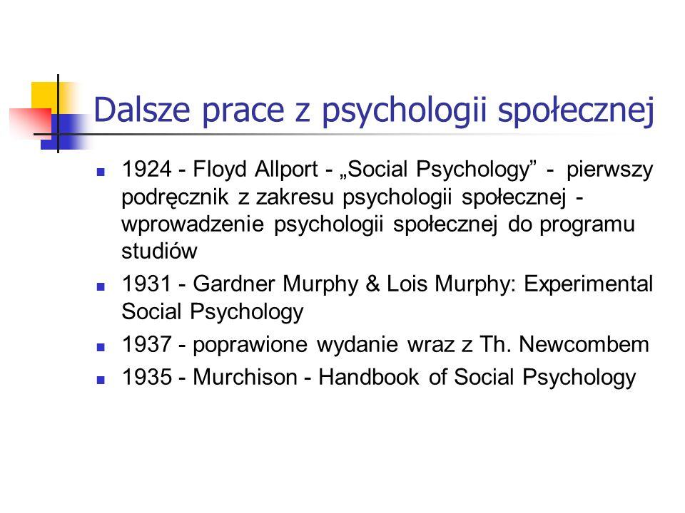 Dalsze prace z psychologii społecznej