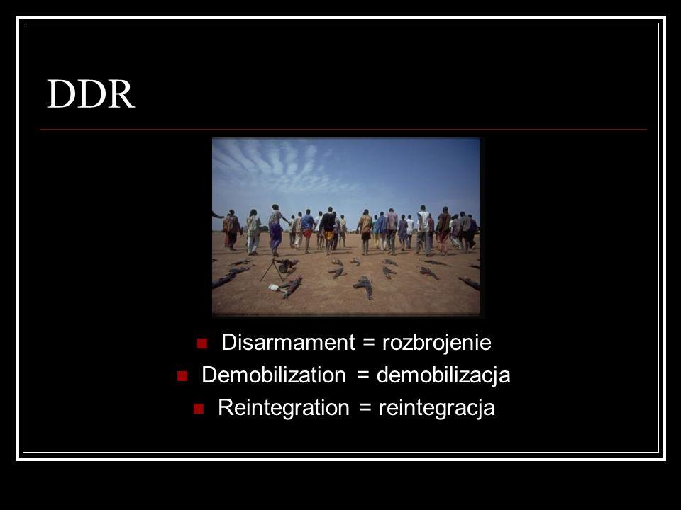 DDR Disarmament = rozbrojenie Demobilization = demobilizacja