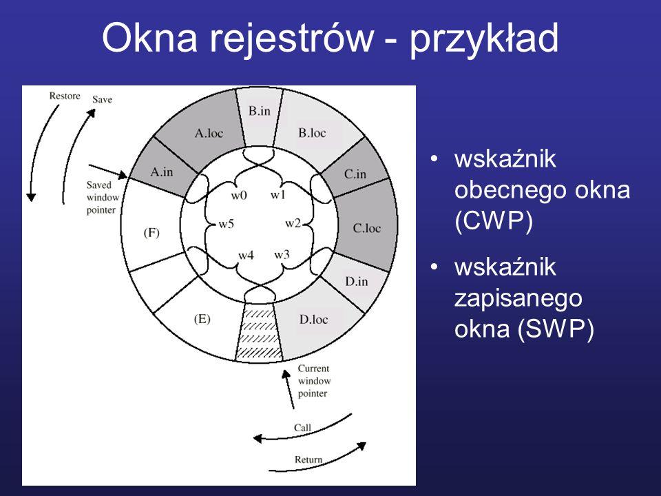 Okna rejestrów - przykład