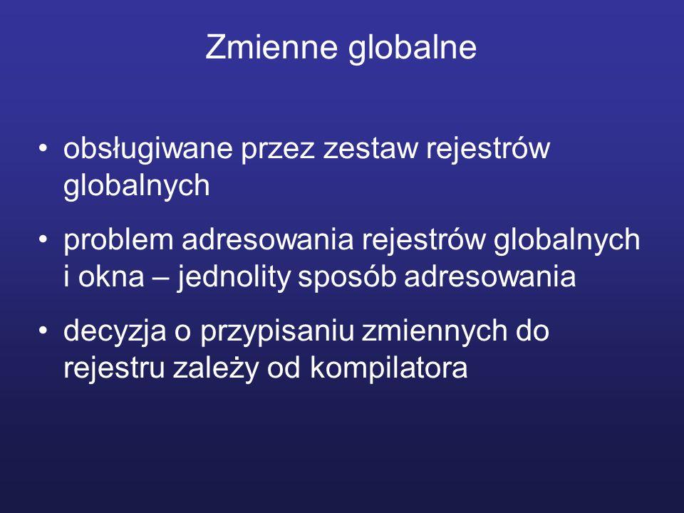 Zmienne globalne obsługiwane przez zestaw rejestrów globalnych