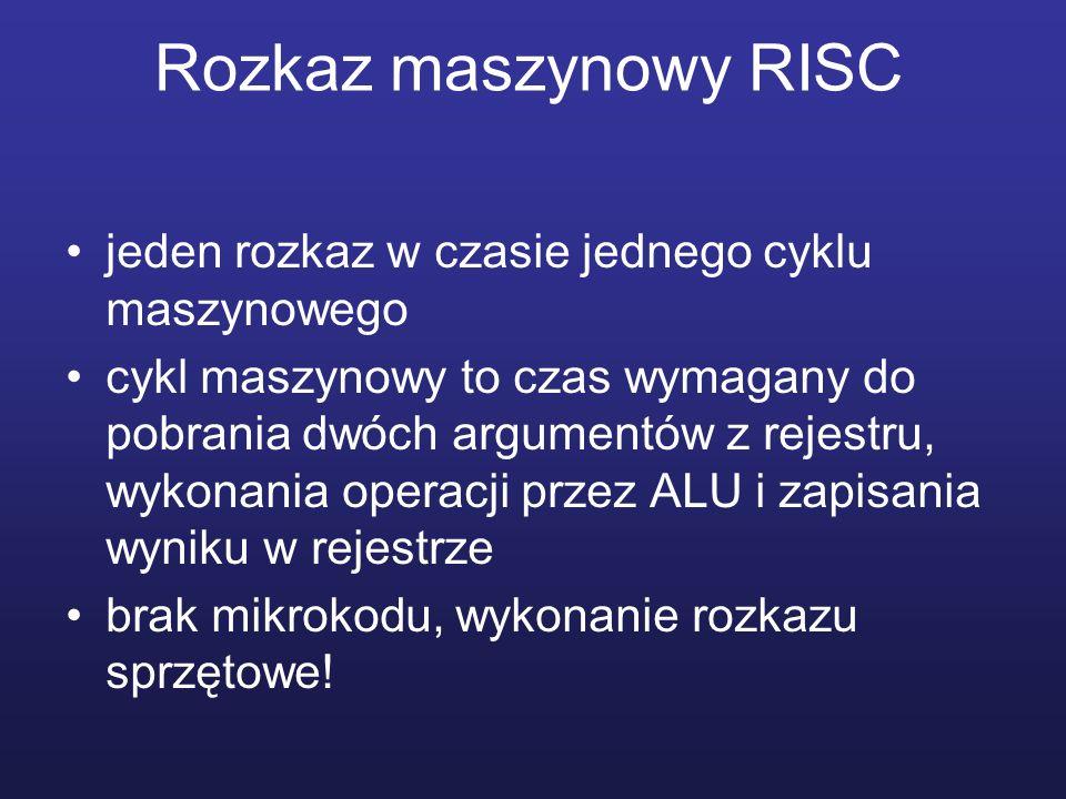 Rozkaz maszynowy RISC jeden rozkaz w czasie jednego cyklu maszynowego
