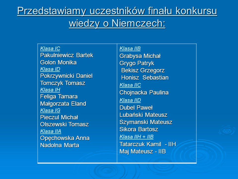 Przedstawiamy uczestników finału konkursu wiedzy o Niemczech: