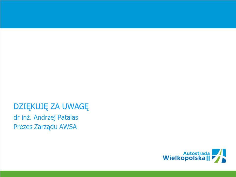 DZIĘKUJĘ ZA UWAGĘ dr inż. Andrzej Patalas Prezes Zarządu AWSA