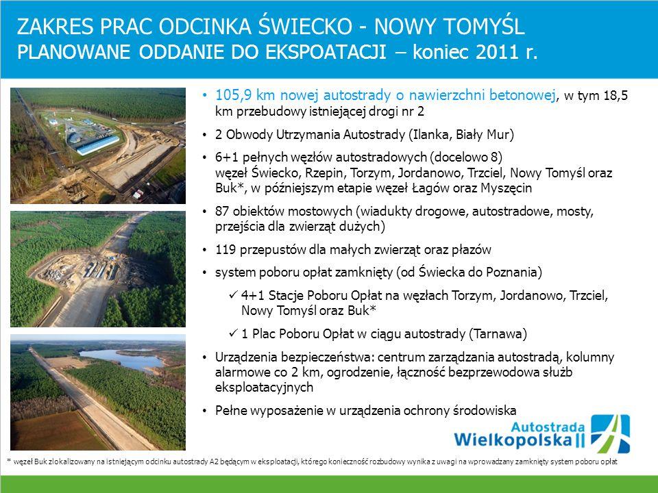 ZAKRES PRAC ODCINKA ŚWIECKO - NOWY TOMYŚL PLANOWANE ODDANIE DO EKSPOATACJI – koniec 2011 r.