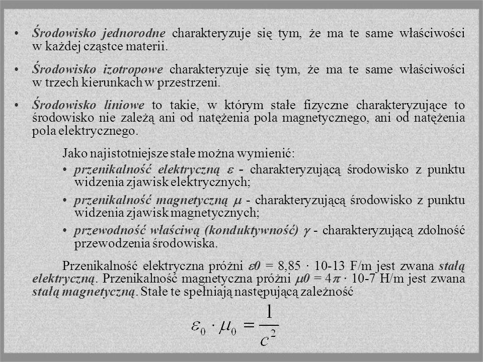Środowisko jednorodne charakteryzuje się tym, że ma te same właściwości w każdej cząstce materii.