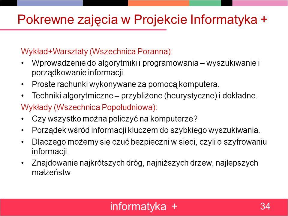 Pokrewne zajęcia w Projekcie Informatyka +