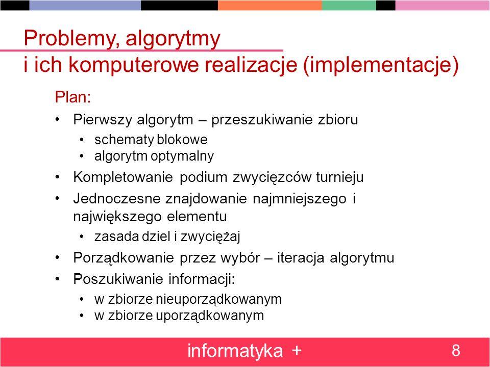 Problemy, algorytmy i ich komputerowe realizacje (implementacje)