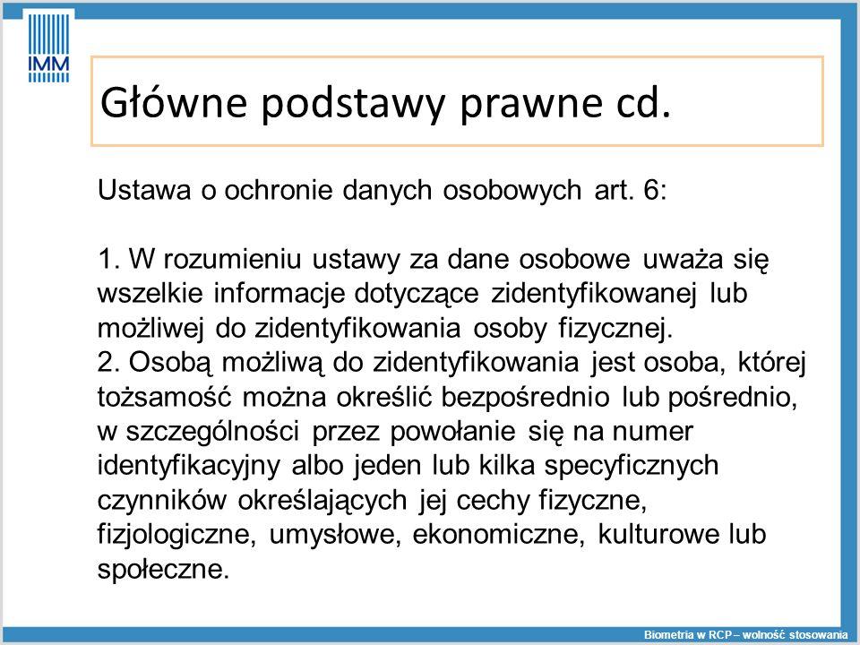 Główne podstawy prawne cd.