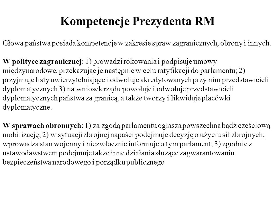 Kompetencje Prezydenta RM