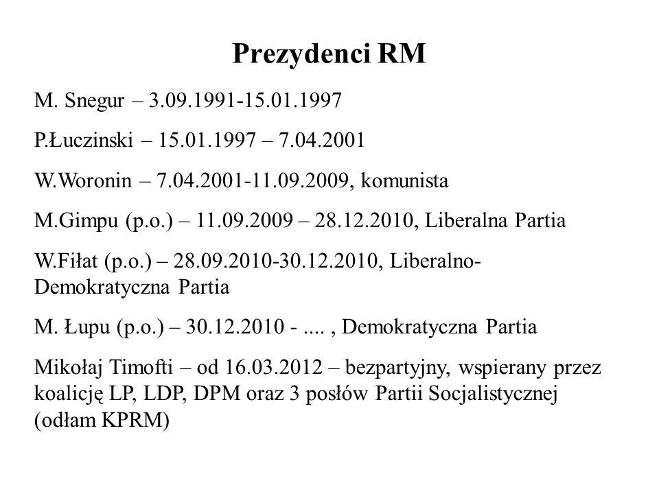 Prezydenci RM M. Snegur – 3.09.1991-15.01.1997