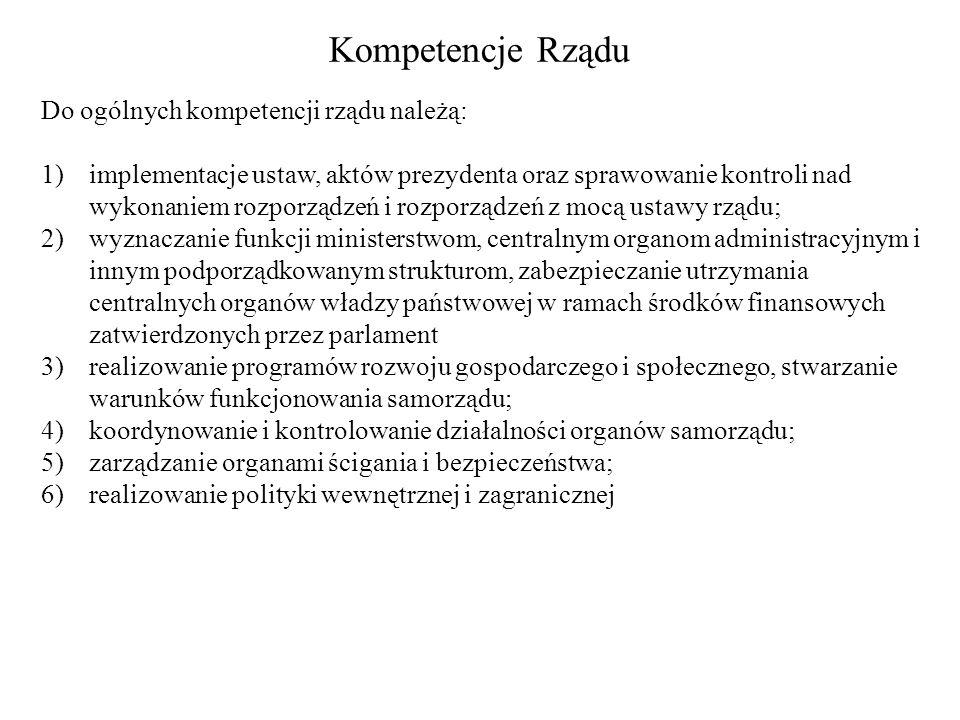 Kompetencje Rządu Do ogólnych kompetencji rządu należą: