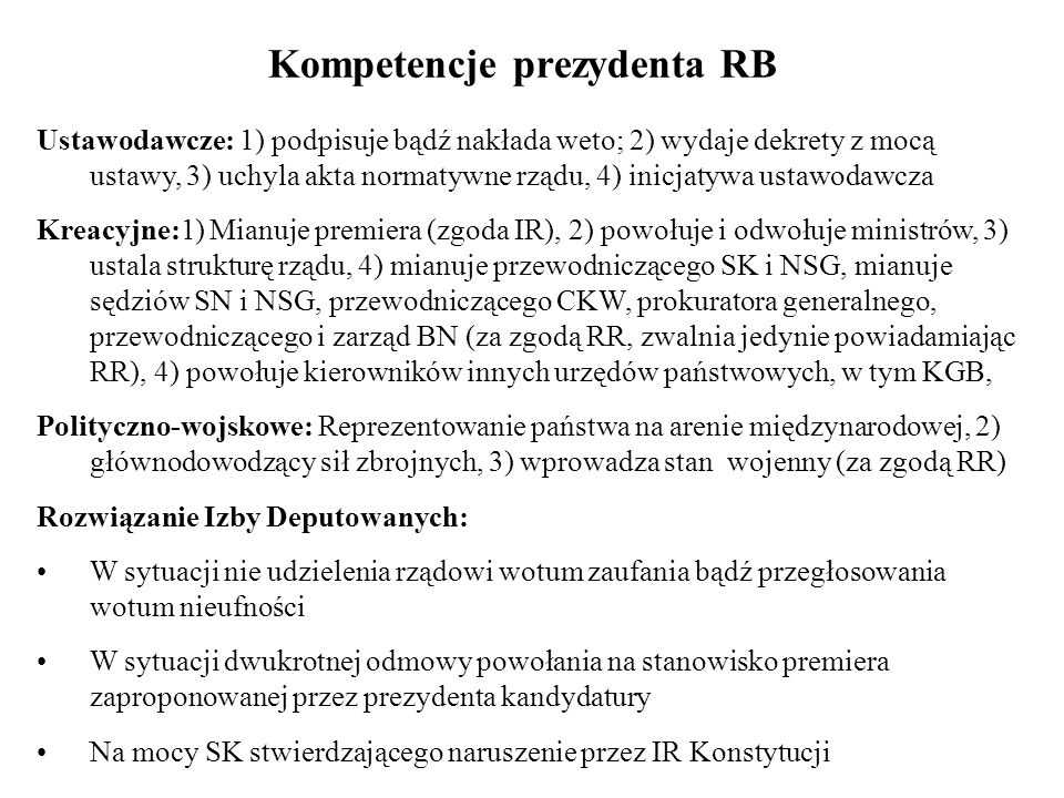 Kompetencje prezydenta RB