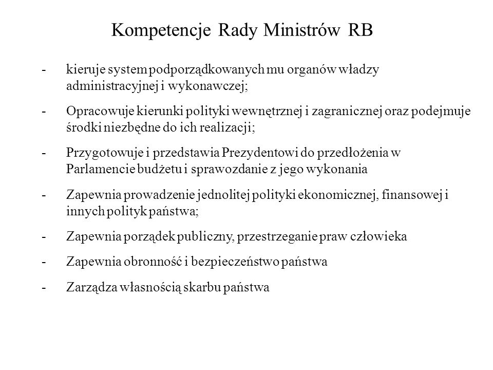 Kompetencje Rady Ministrów RB