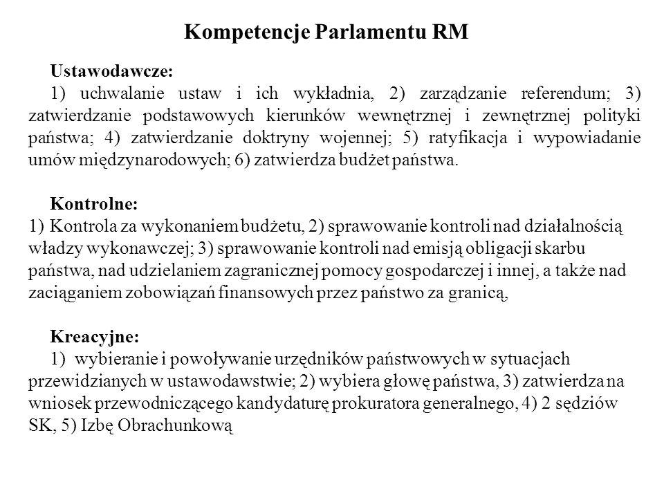 Kompetencje Parlamentu RM