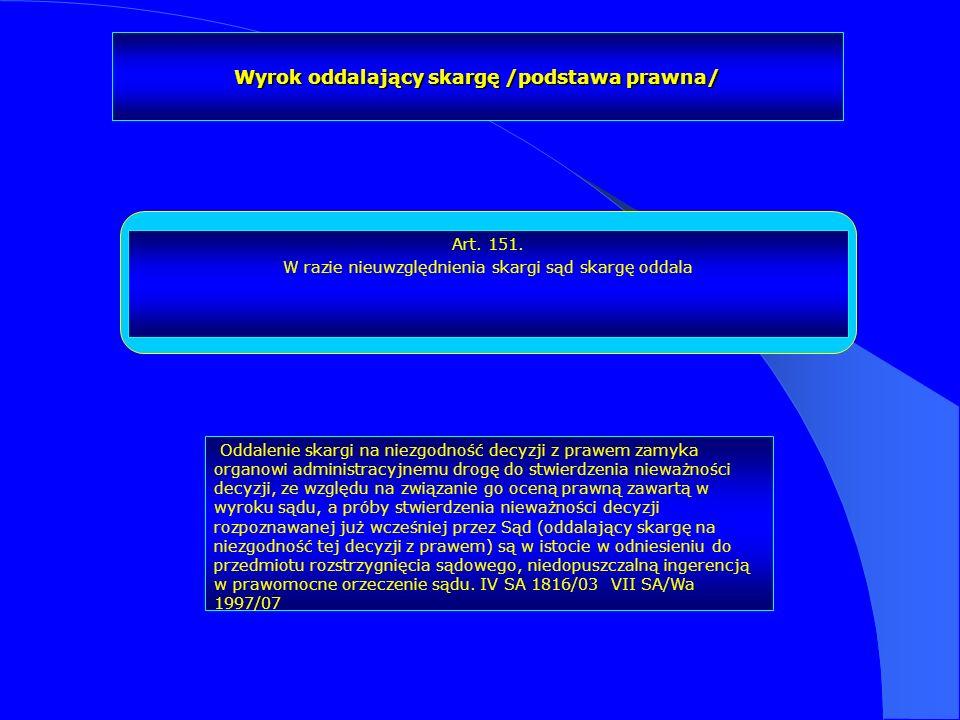 Wyrok oddalający skargę /podstawa prawna/