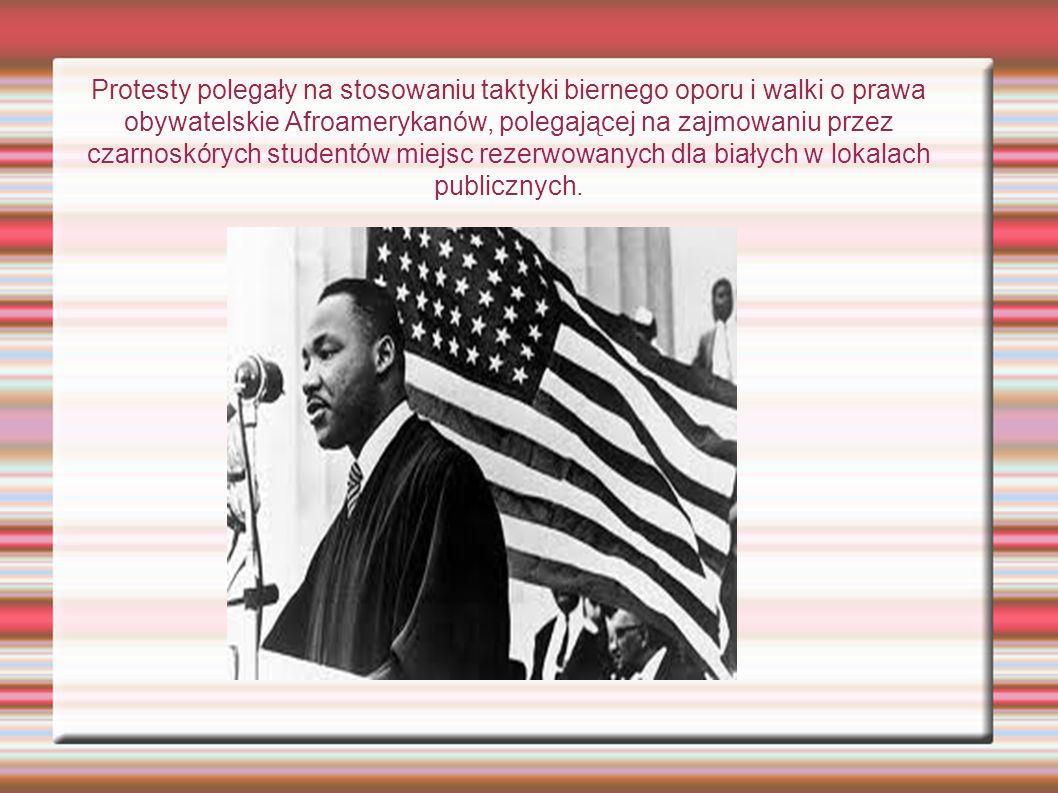 Protesty polegały na stosowaniu taktyki biernego oporu i walki o prawa obywatelskie Afroamerykanów, polegającej na zajmowaniu przez czarnoskórych studentów miejsc rezerwowanych dla białych w lokalach publicznych.