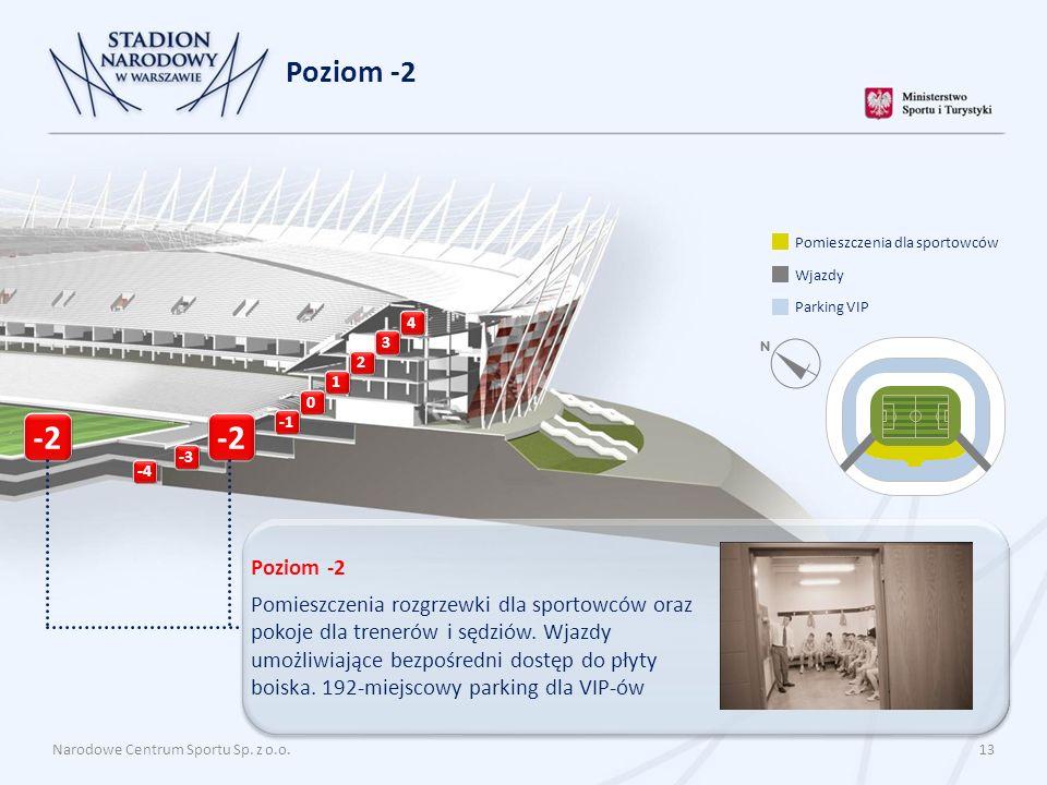Poziom -2 Pomieszczenia dla sportowców. Wjazdy. Parking VIP. 4. 3. 2. 1. -2. -2. -1. -3. -4.