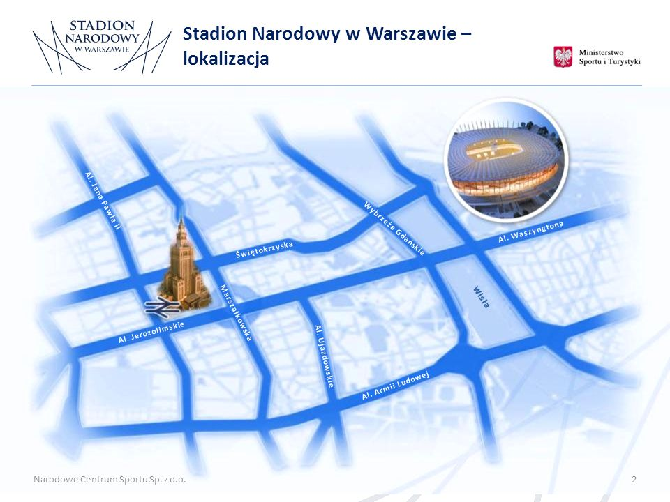 Stadion Narodowy w Warszawie – lokalizacja