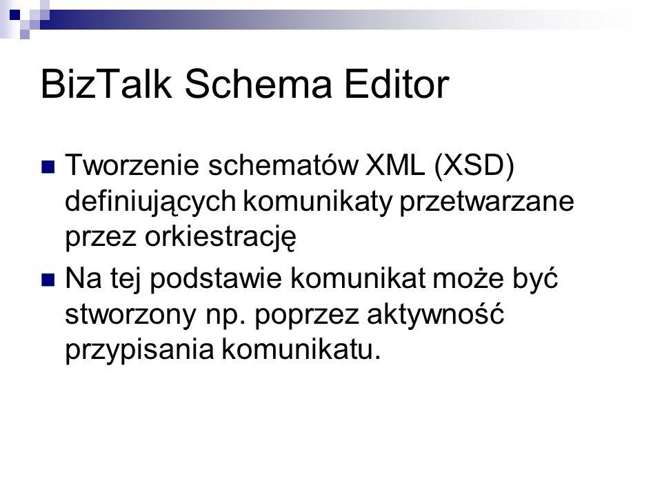 BizTalk Schema Editor Tworzenie schematów XML (XSD) definiujących komunikaty przetwarzane przez orkiestrację.