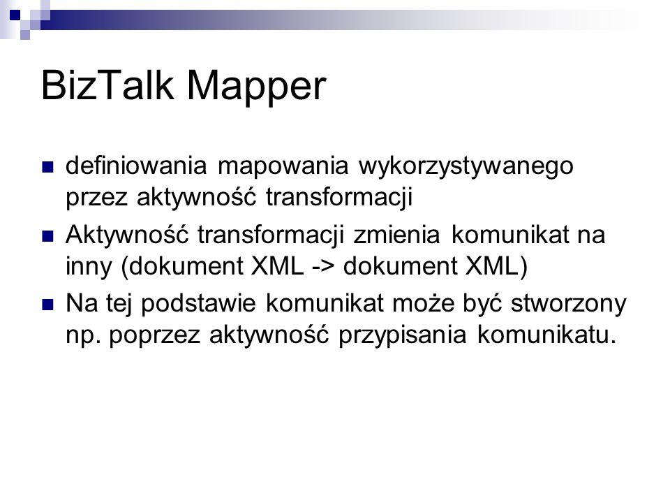 BizTalk Mapper definiowania mapowania wykorzystywanego przez aktywność transformacji.