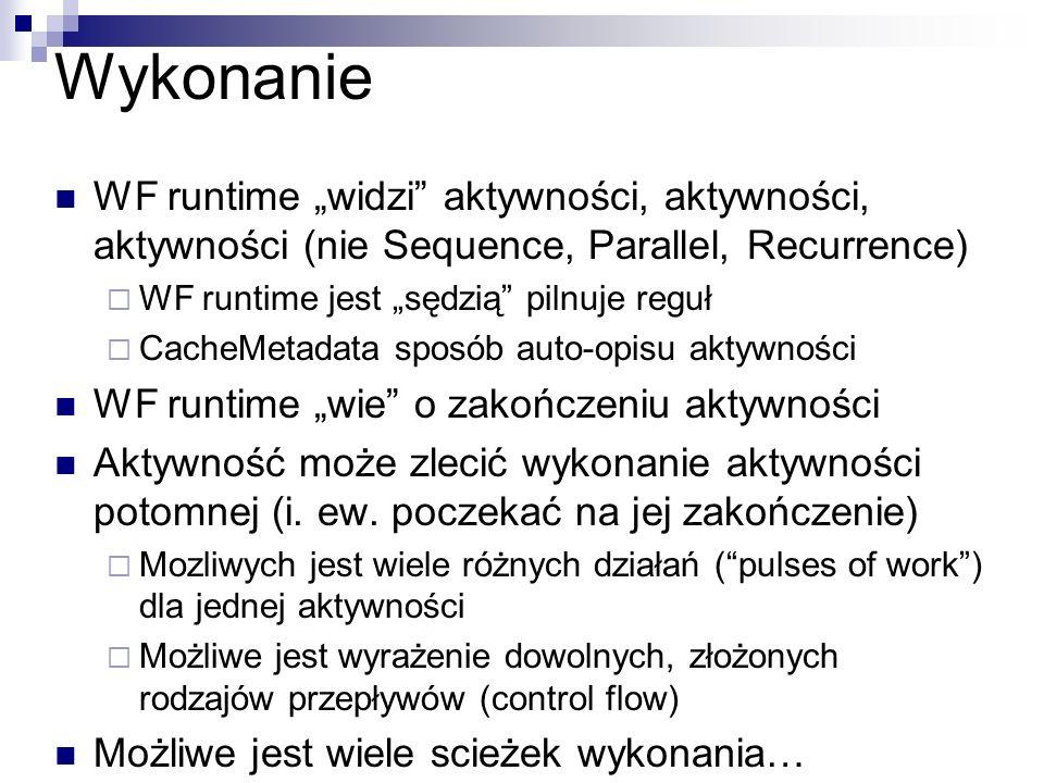 """Wykonanie WF runtime """"widzi aktywności, aktywności, aktywności (nie Sequence, Parallel, Recurrence)"""