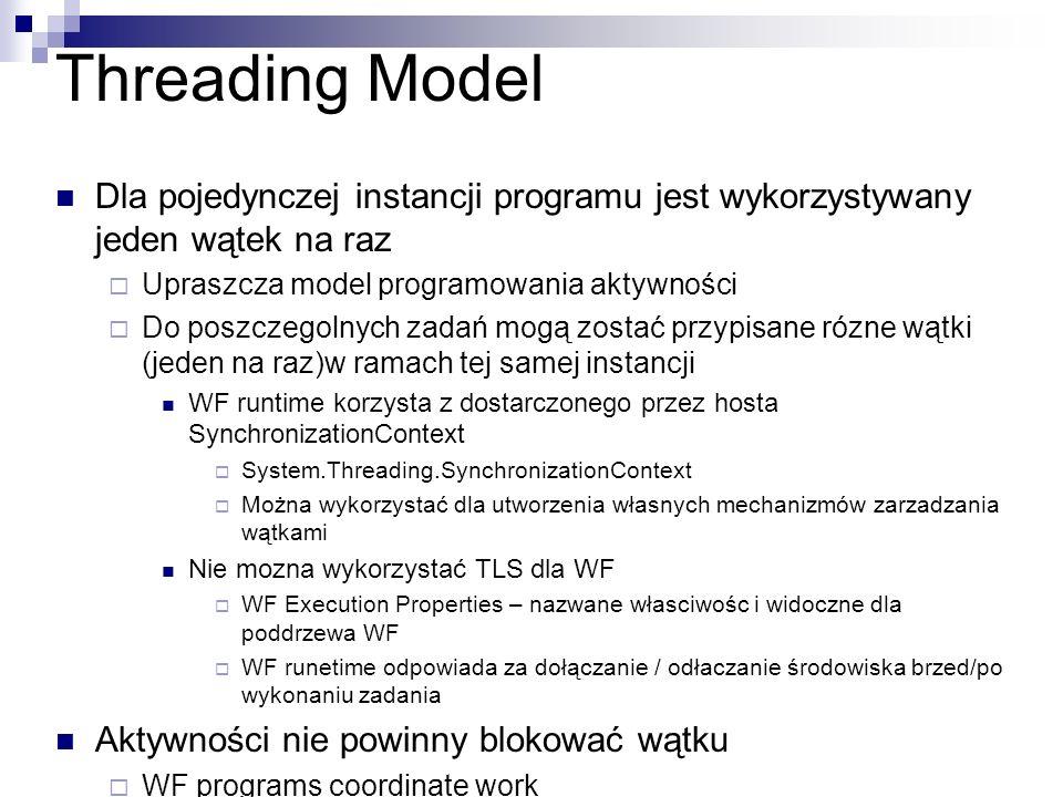 Threading Model Dla pojedynczej instancji programu jest wykorzystywany jeden wątek na raz. Upraszcza model programowania aktywności.