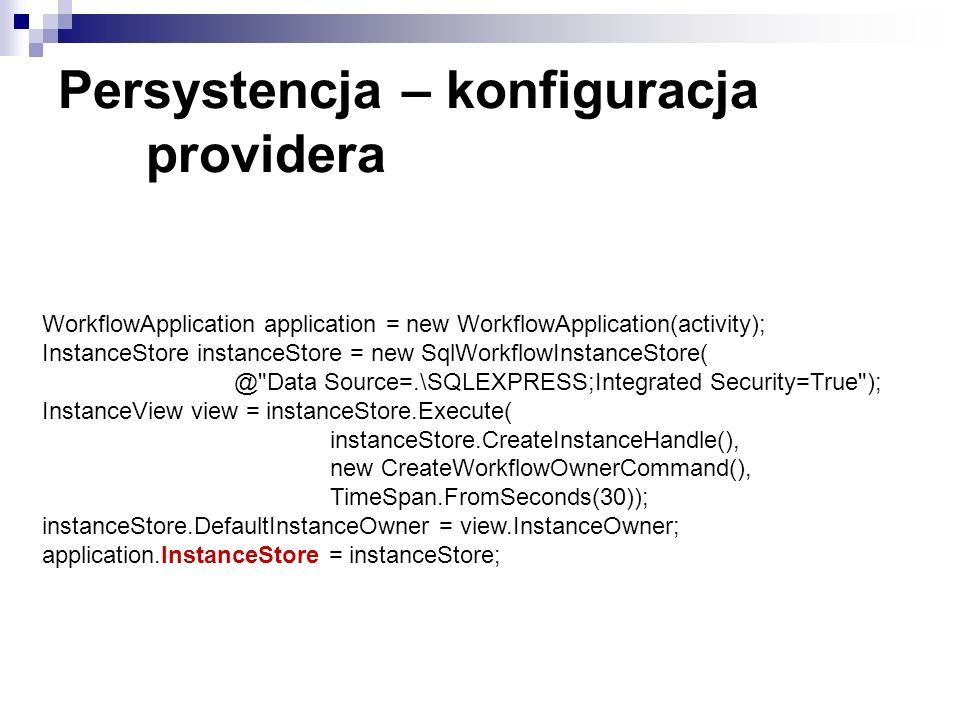 Persystencja – konfiguracja providera