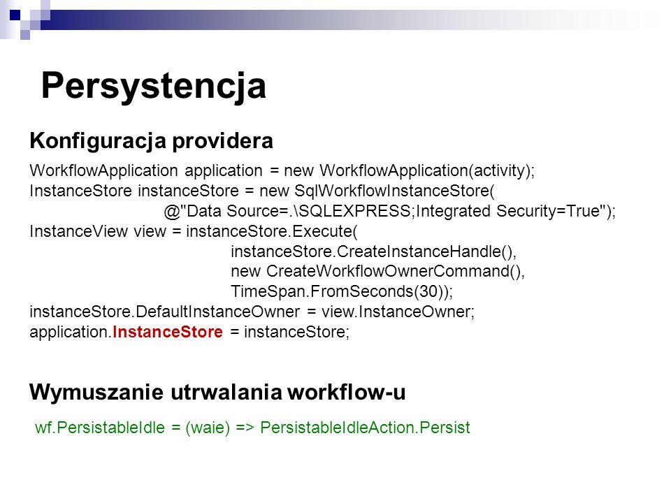 Persystencja Konfiguracja providera Wymuszanie utrwalania workflow-u