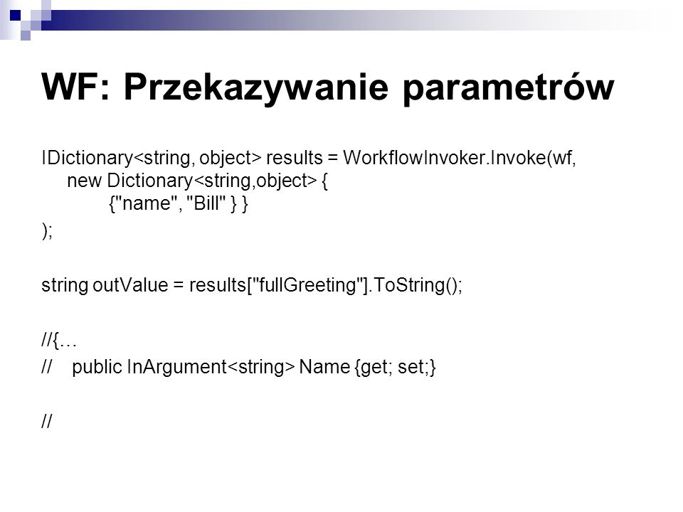 WF: Przekazywanie parametrów