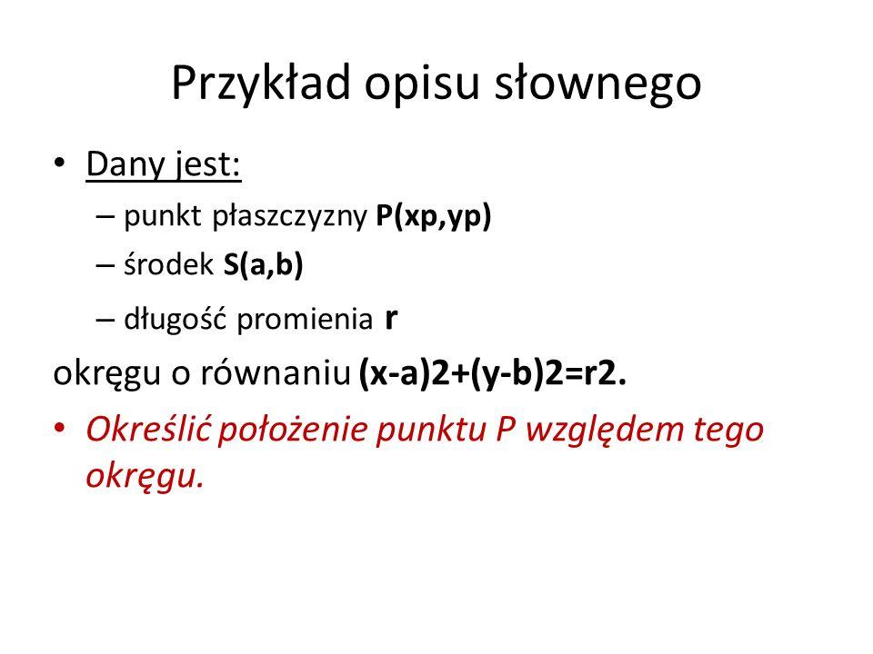 Przykład opisu słownego