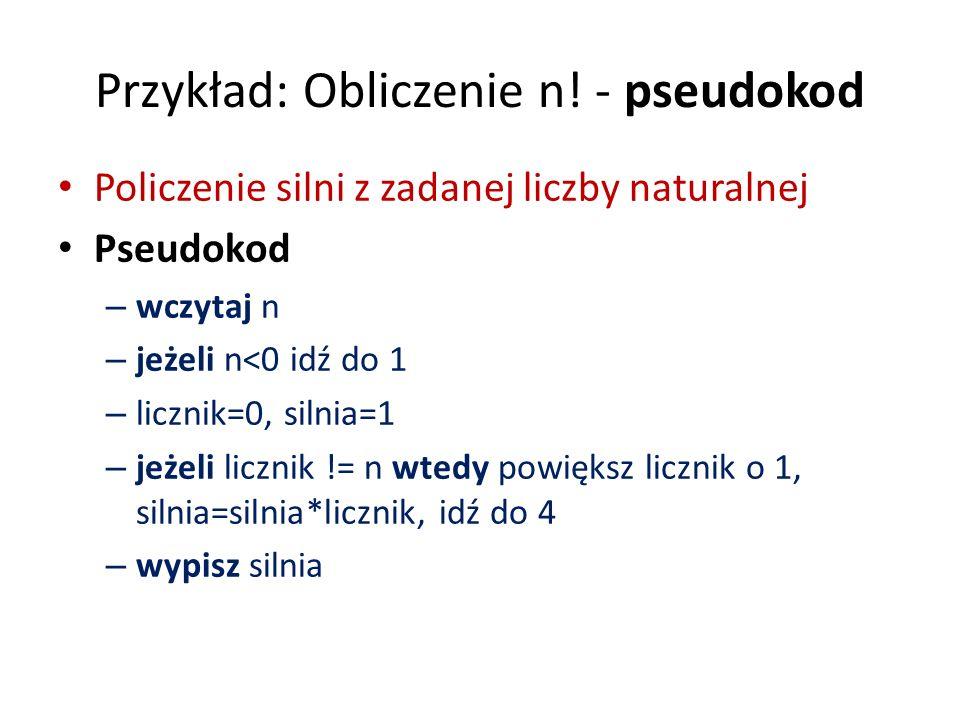 Przykład: Obliczenie n! - pseudokod