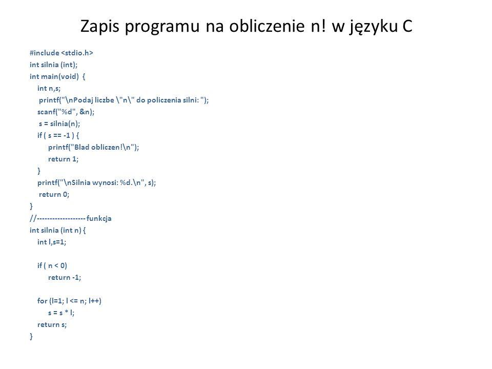 Zapis programu na obliczenie n! w języku C