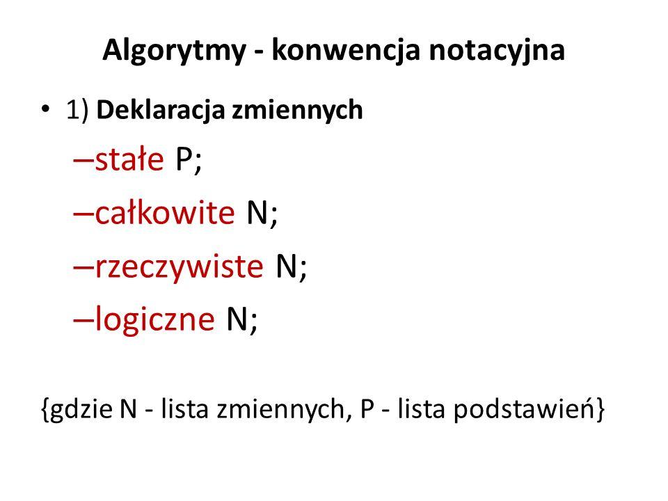 Algorytmy - konwencja notacyjna