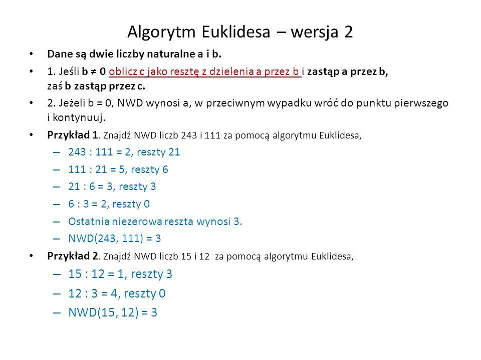 Algorytm Euklidesa – wersja 2