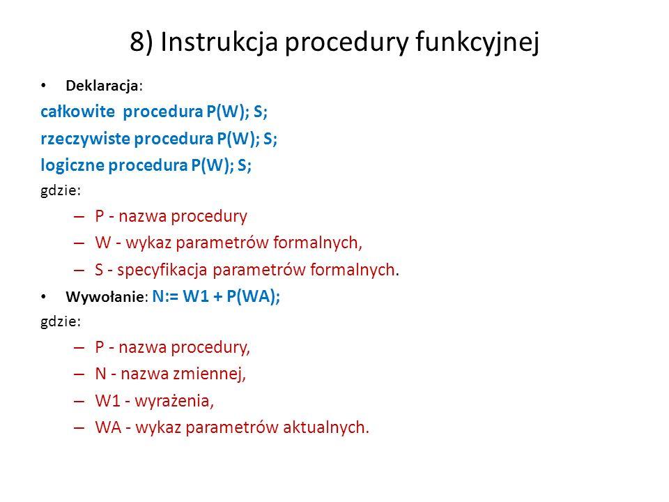 8) Instrukcja procedury funkcyjnej