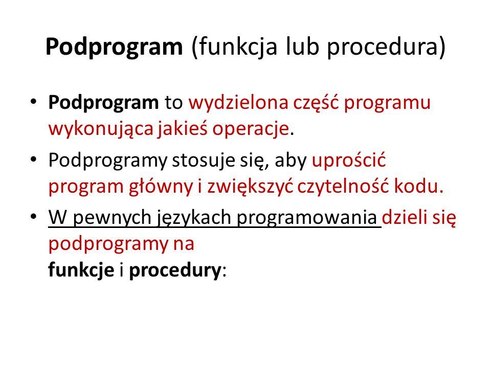 Podprogram (funkcja lub procedura)