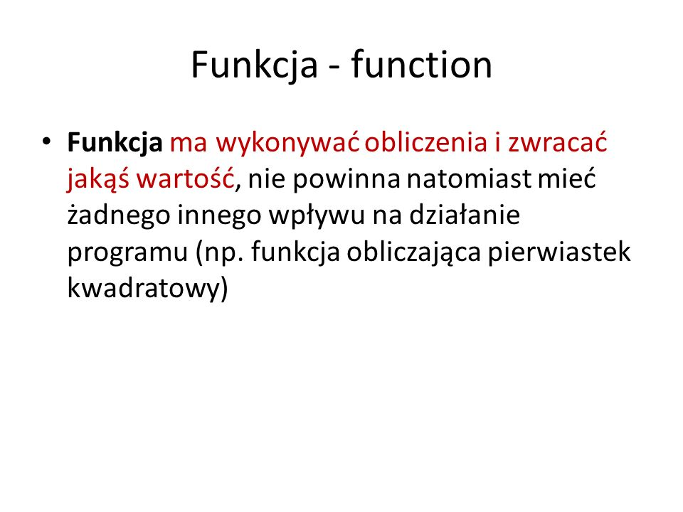 Funkcja - function