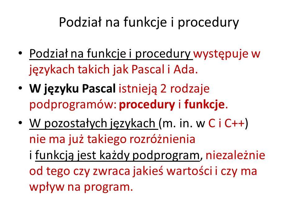 Podział na funkcje i procedury