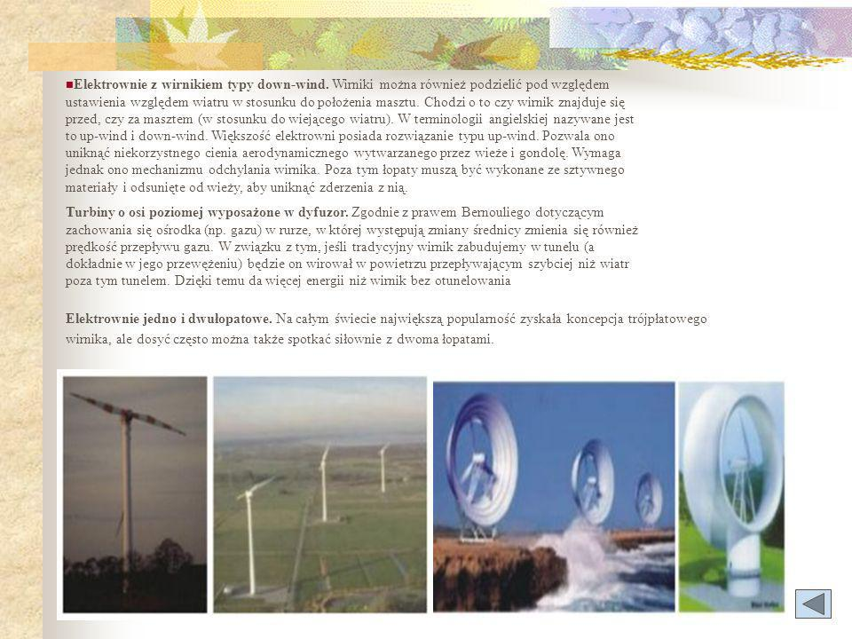 Elektrownie z wirnikiem typy down-wind