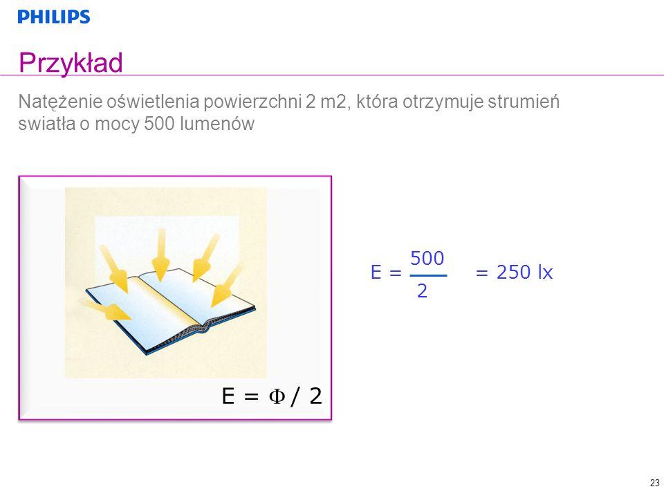 Przykład Natężenie oświetlenia powierzchni 2 m2, która otrzymuje strumień swiatła o mocy 500 lumenów.