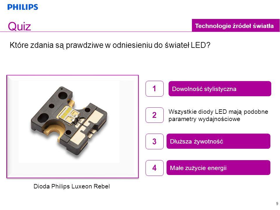 Quiz Które zdania są prawdziwe w odniesieniu do świateł LED 1 2 3 4