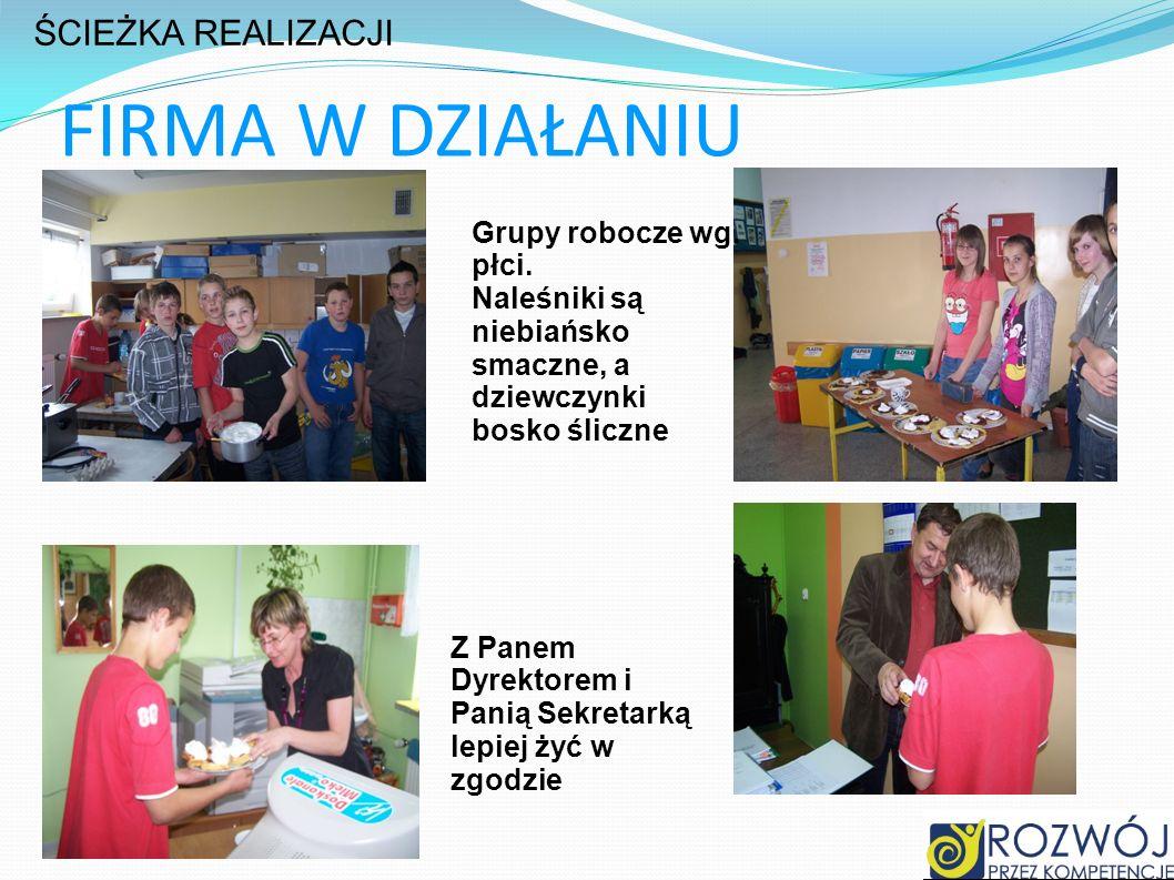 FIRMA W DZIAŁANIU ŚCIEŻKA REALIZACJI Grupy robocze wg. płci.