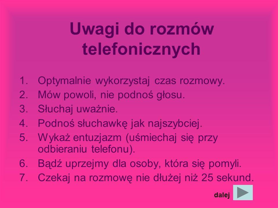 Uwagi do rozmów telefonicznych