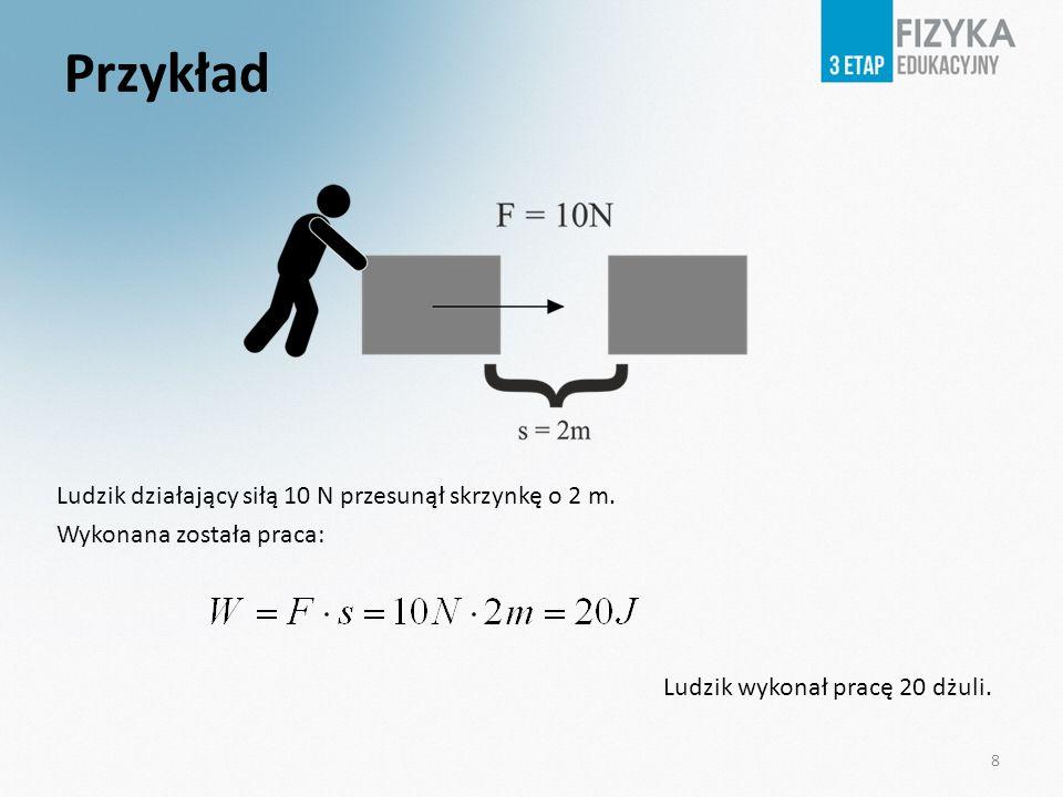 PrzykładLudzik działający siłą 10 N przesunął skrzynkę o 2 m.