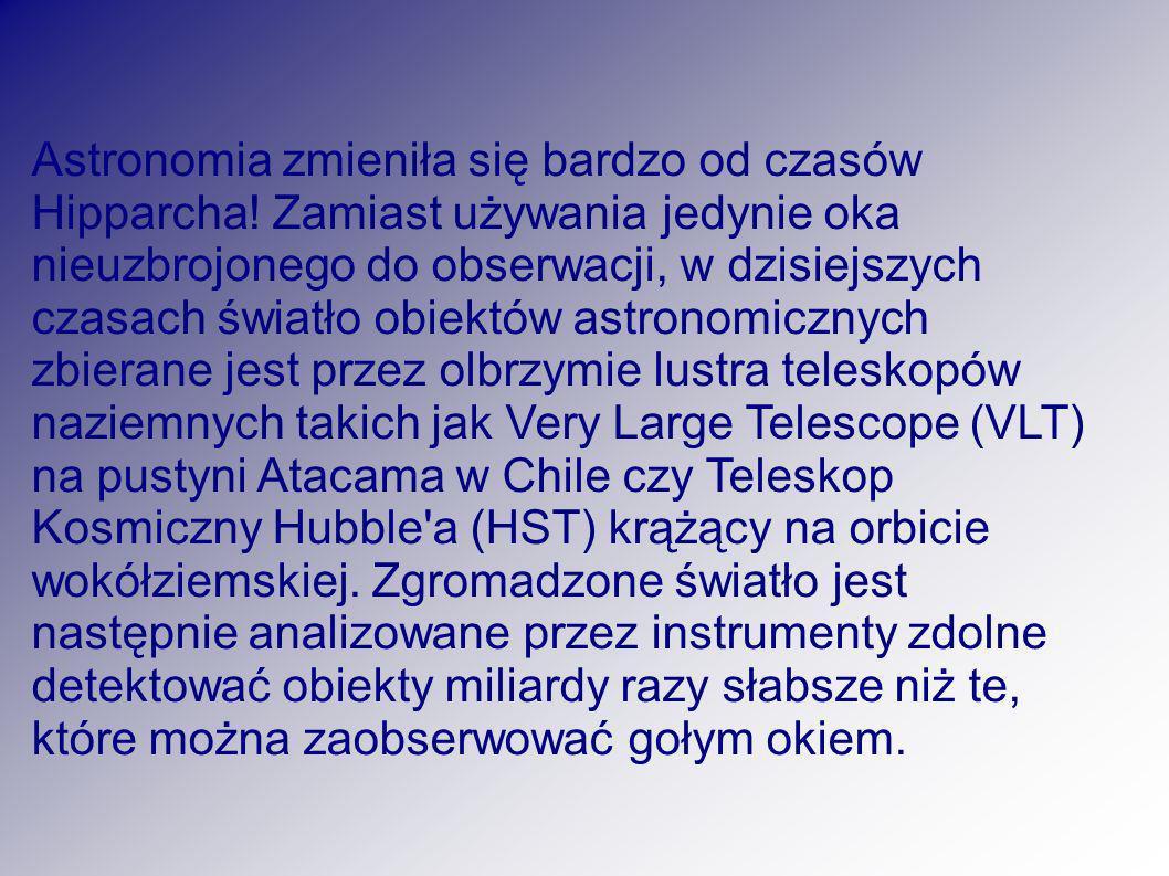 Astronomia zmieniła się bardzo od czasów Hipparcha